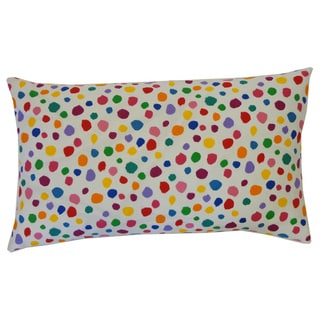 Fuzzy White Kids Polka Dot 12x20-inch Pillow