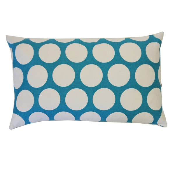 "Handmade Polka Aqua Kids Polka Dot Pillow - 12"" x 20"""