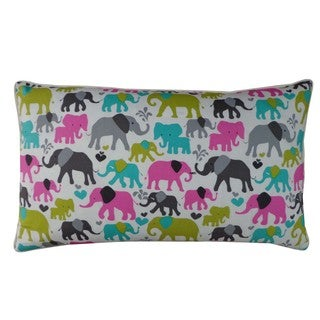 Elephant City Grey and Pink Kids Animal Print 12x20-inch Pillow