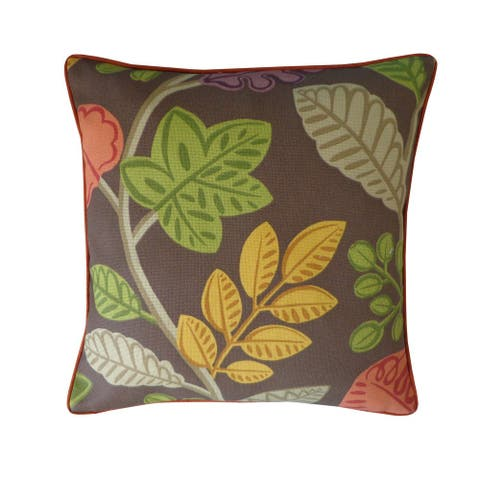 "Handmade Palm Brown Floral Pillow - 20"" x 20"""