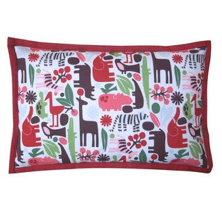 Cheerful Hippo Red Kids Animal Print 12x20-inch Pillow