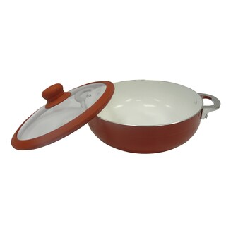 IMUSA CHI-00072R 6.9 qt. Red Ceramic Nonstick Caldero with Glass Lid and Silicone Rim