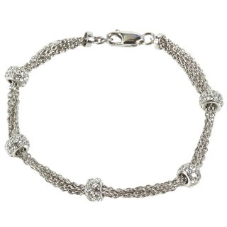 Sonia Bitton Platinum Plated Sterling Silver Station Bracelet