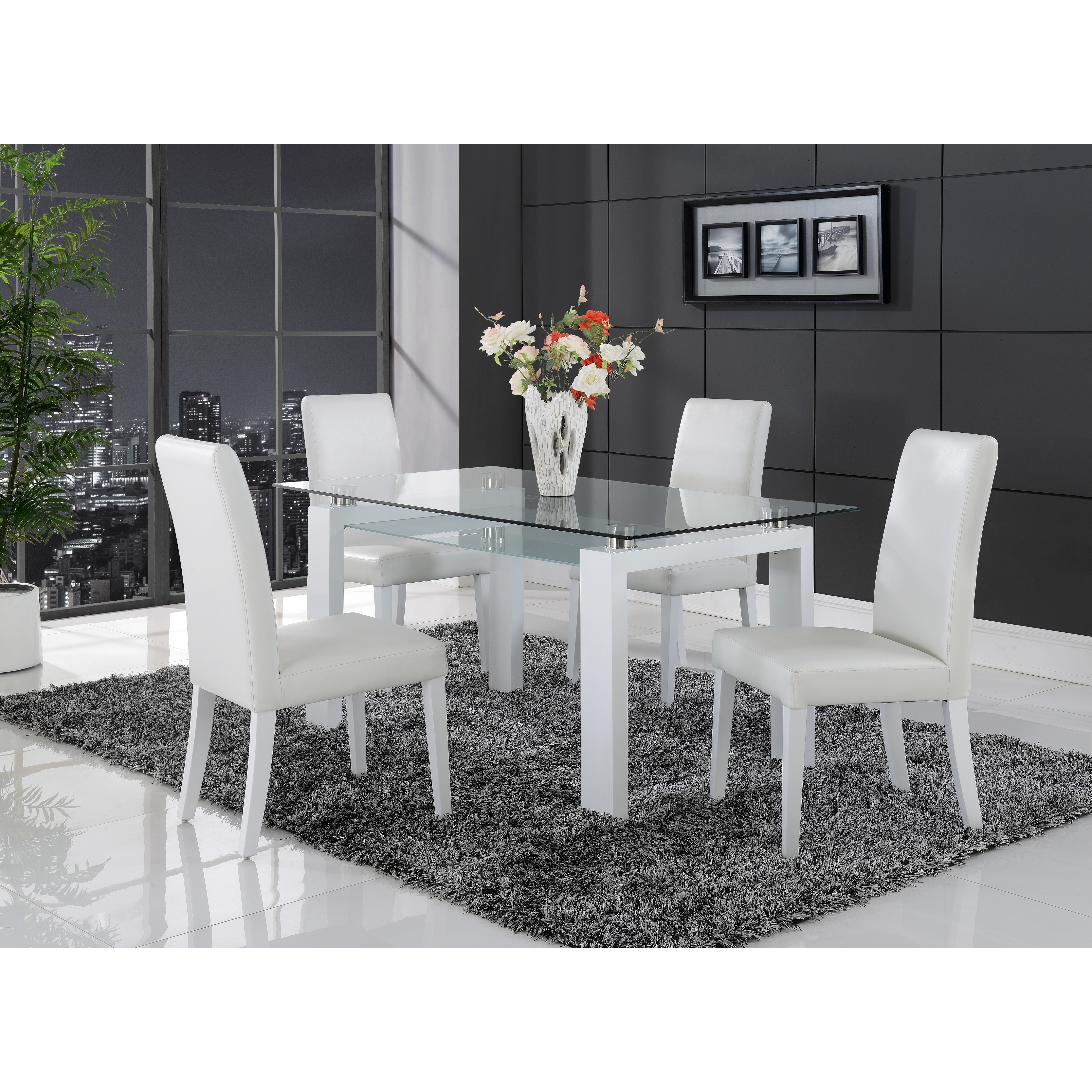Picture of: White Solid Wood Glass Top Dining Table Overstock 9178088