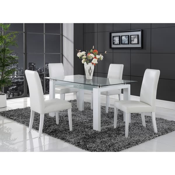 Shop White Solid Wood Glass Top Dining Table Overstock 9178088