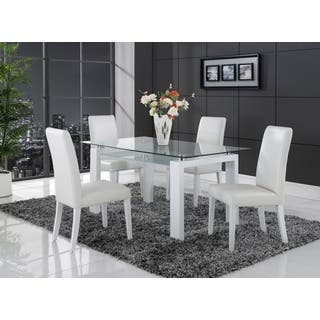 rectangle glass dining room table. White Solid Wood Glass Top Dining Table  Rectangle Kitchen Room Tables For Less Overstock
