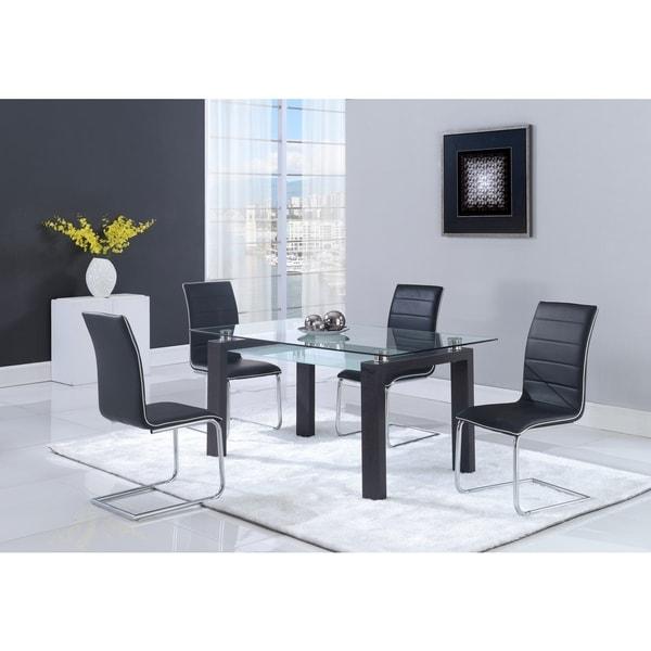 Black Walnut Glass-top Dining Table