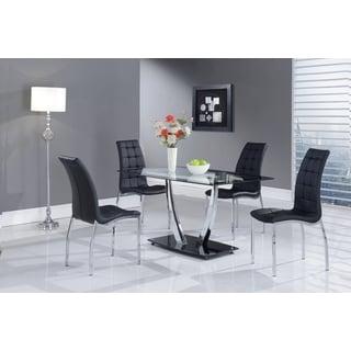 Black Trim Glass-top Rectangular Dining Table
