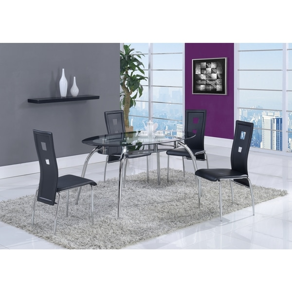 Shop Oval Black Trim Glass Dining Table