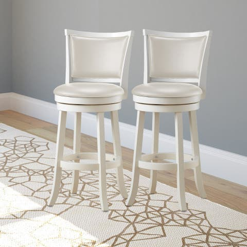 Copper Grove Vrlika White Barstool with Leatherette Seat (Set of 2)