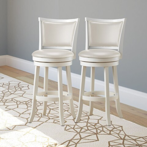CorLiving White Wash Barstool with Leatherette Seat (Set of 2)
