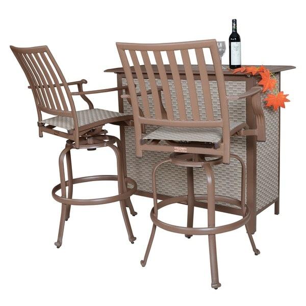 Panama Jack Island Breeze 3-piece Slatted Bar Table Set