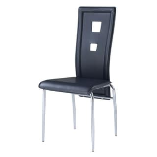 Black Leatherette Dining Chairs (Set of 4)