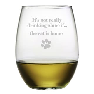 The Cat Is Home Stemless Wine Glasses (Set of 4)