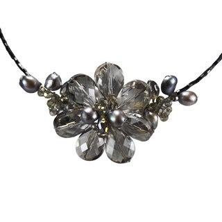 Silver Mist Azalea Flower Silver Crystal and Pearl Necklace (Thailand)