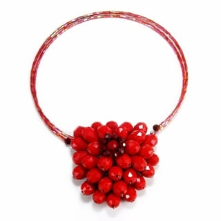 Breathtaking Floral Garland Red Crystal Choker Necklace (Thailand)