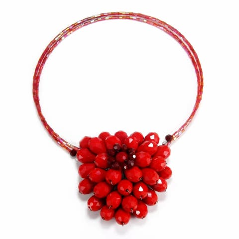 Handmade Breathtaking Floral Garland Red Crystal Choker Necklace (Thailand)