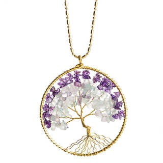 Link to Handmade Stone Tree of Life Brass Necklace (Thailand) Similar Items in Fashion Jewelry Store
