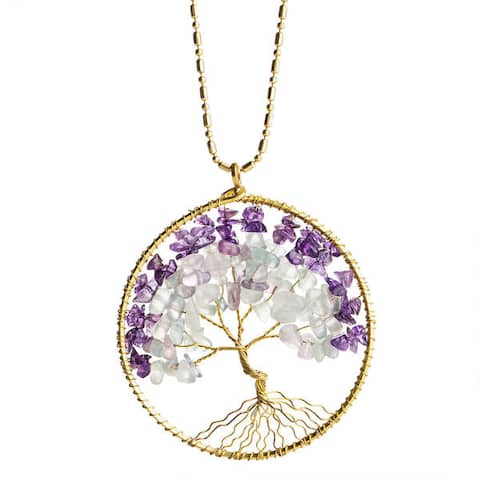 Handmade Mystical Tree of Life Gemstone and Brass Necklace (Thailand)
