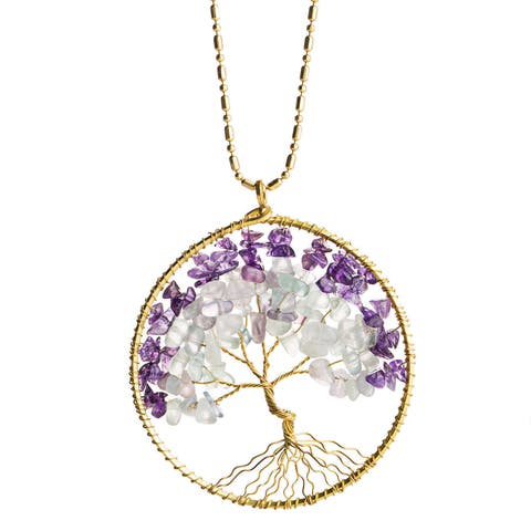 Handmade Stone Tree of Life Brass Necklace (Thailand)