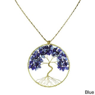 Natural Stone Eternal Tree of Life Brass Long Necklace (Thailand)