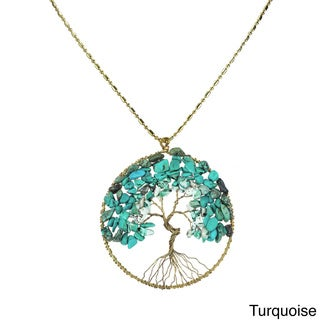 Handmade Natural Stone Eternal Tree of Life Brass Long Necklace (Thailand)
