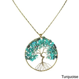 Handmade Natural Stone Eternal Tree of Life Brass Long Necklace (Thailand) (More options available)