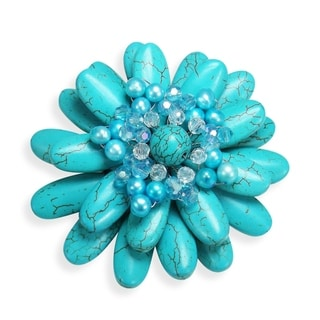 Handmade Water Lily Turquoise and Pearl Floral Pin or Brooch (Thailand)