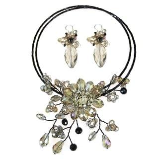 Handmade Luminous Flower Ray Smokey Crystals Jewelry Set (Thailand)