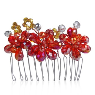 Regal Fire and Ice Floral Crystal Bridal Hair Comb (Thailand)