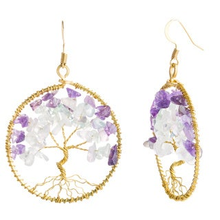 Eternal Tree of Life Stone Branch Brass Dangle Earrings (Thailand)