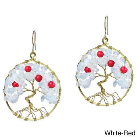 Handmade Eternal Tree of Life Rose Quartz Branch Brass Dangle Earrings(Thailand)