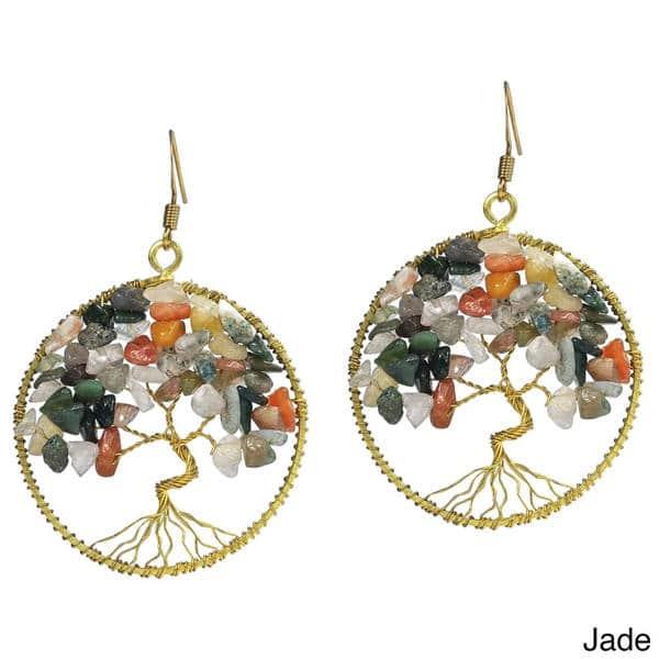 Earthy Yggdrasil Tree of Life Earrings Boho Tree Earrings Heart Earth Earrings