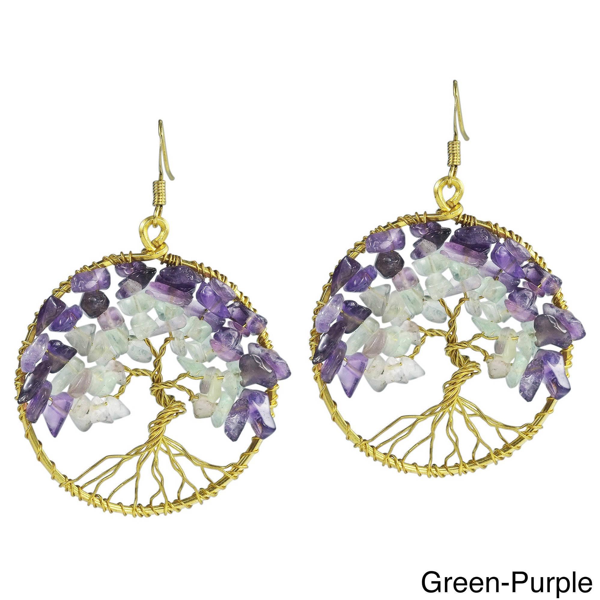 Tree of Life Amethyst Earrings