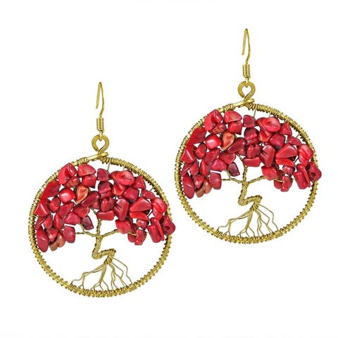 Handmade Tree of Life Stone Dangle Earrings (Thailand)