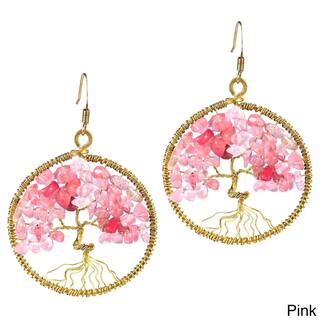 Handmade Tree Of Life Stone Dangle Earrings Thailand