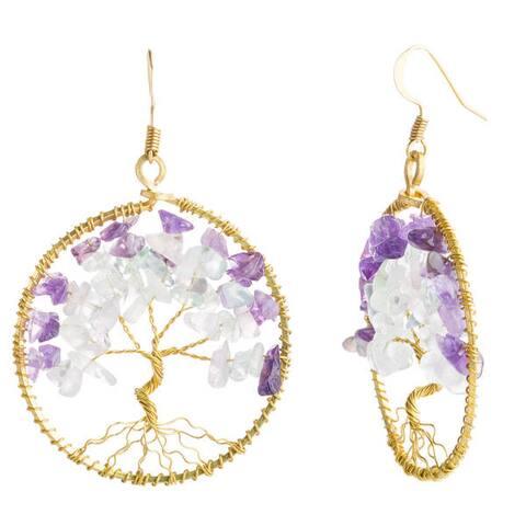 Handmade Eternal Tree of Life Pearl and Gemstone Brass Dangle Earrings (Thailand)