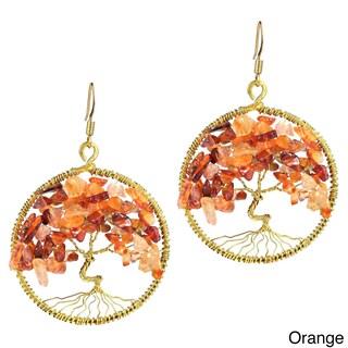 Handmade Tree of Life Stone Dangle Earrings (Thailand)