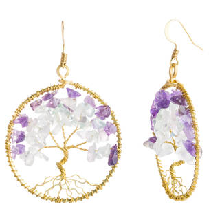 Handmade Eternal Tree of Life Stone Branch Brass Dangle Earrings (Thailand)