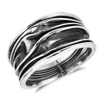 Handmade Tranquil Ocean Waves Oxidized .925 Sterling Silver Ring (Thailand)
