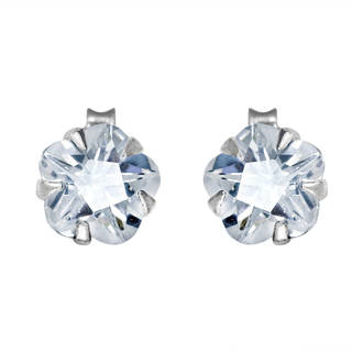 Handmade Sparkling Cubic Zirconia Flower .925 Silver Stud Earrings (Thailand)