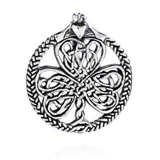 Handmade Lucky Clover Celtic Knot Heart .925 Silver Pendant (Thailand)