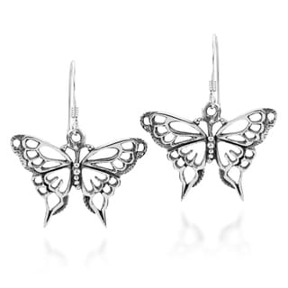 Exquisite Filigree Wild Butterfly .925 Silver Earrings (Thailand)