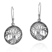 Handmade Mystical Bloom Celtic Tree of Life .925 Silver Earrings (Thailand)