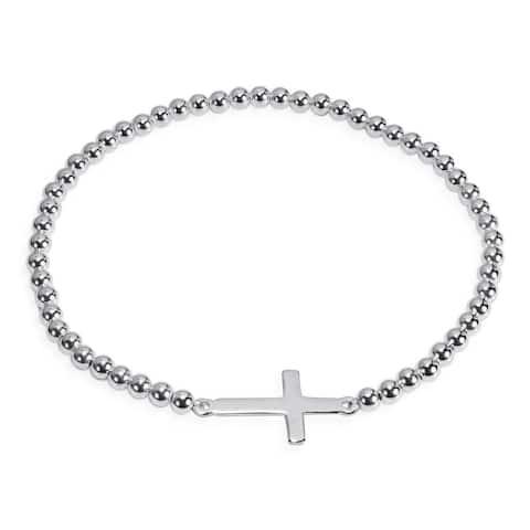 Handmade Faithful Christian Cross Sterling Silver Elastic Beads Bracelet (Thailand)