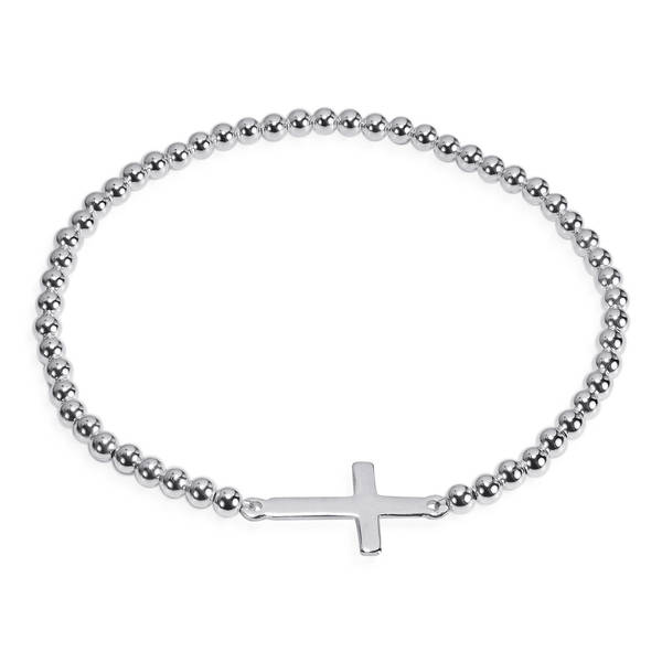 Handmade Faithful Christian Cross Sterling Silver Elastic Beads Bracelet (Thailand). Opens flyout.