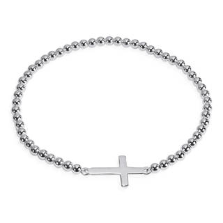 Handmade Faithful Christian Cross .925 Sterling Silver Elastic Beads Bracelet (Thailand)