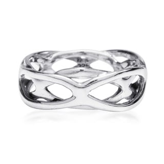 Handmade Intertwining Open Waves Band Sterling Silver Ring (Thailand)