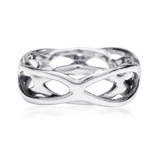 Intertwining Open Waves Band Sterling Silver Ring (Thailand)