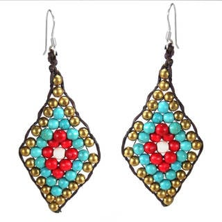Handmade Tribal Leaf Turquoise and Coral .925 Silver Earrings (Thailand)